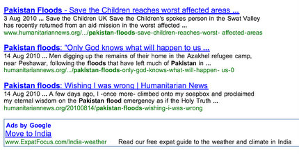 Google ad for Pakistan floods
