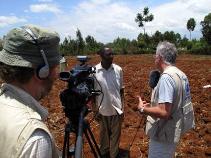 Peter interviewing farmers in Kenya