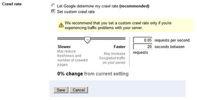 Adjusting the Google crawl rate with Google Webmasters tools