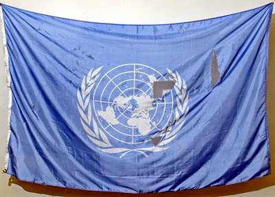 UN flag recovered from Canal hotel bombing
