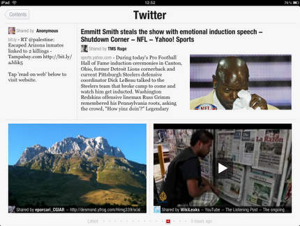 A Twitter stream on Flipboard