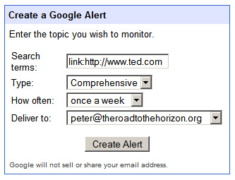 Google Alerts Email search criteria for ted.com