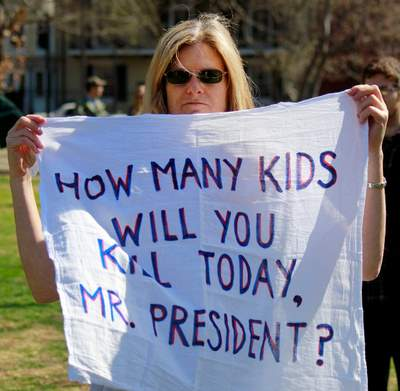 How many children have you killed today, Mr.President?