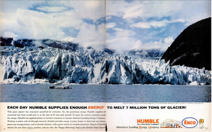 petroleum company ad claims to melt glaciers