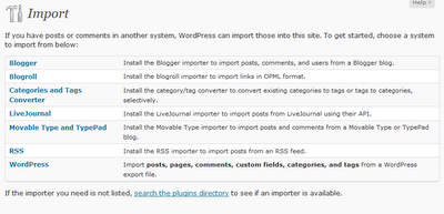 The WordPress Import screen