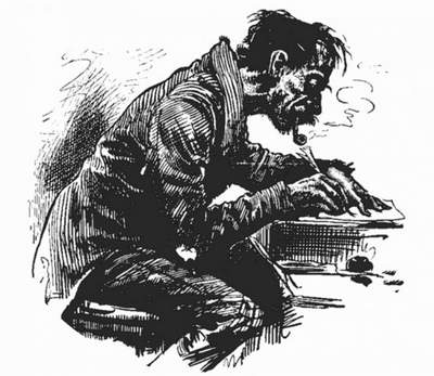 drawing of a writer